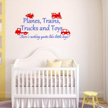 Stylish Cartoon Vehicle and Letters Pattern DIY Wall Sticker For Children's Room - BLUE/RED