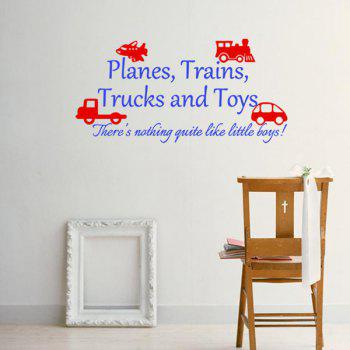 Stylish Cartoon Vehicle and Letters Pattern DIY Wall Sticker For Children's Room
