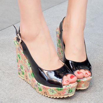 Trendy Patent Leather and Floral Print Design Women's Peep Toe Shoes - BLACK BLACK