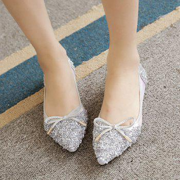 Sweet Bow and Rhinestone Design Women's Flat Shoes