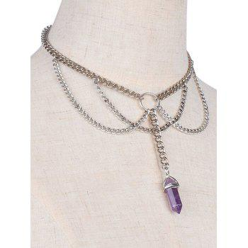 Fringed Faux Amethyst Pendant Necklace
