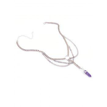 Fringed Faux Amethyst Pendant Necklace - PURPLE