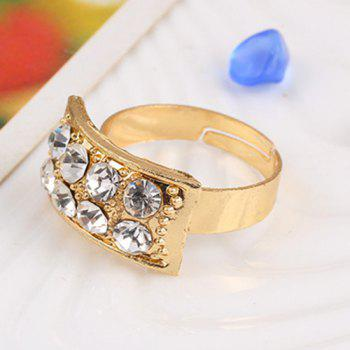 Alloy Rhinestone Necklace Earrings Bracelet and Ring - GOLDEN ONE-SIZE