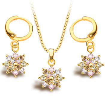 A Suit of Chic Colored Faux Crystal Necklace and Earrings For Women