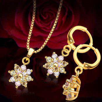A Suit of Chic Colored Faux Crystal Necklace and Earrings For Women - GOLDEN