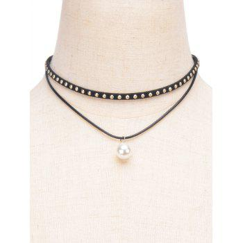 Faux Pearl Rivet Layered Choker