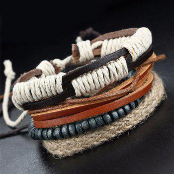 A Suit of Multilayered Faux Leather Beads Wrap Bracelets