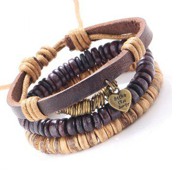 A Suit of Faux Leather Beads Heart Bracelets