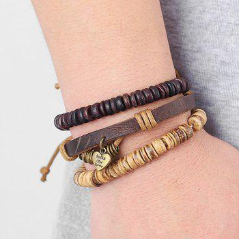 A Suit of Faux Leather Beads Heart Bracelets - BROWN
