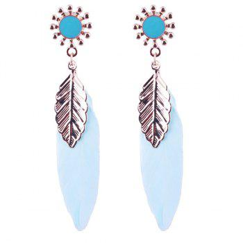 Pair of Leaf Feather Sunflower Alloy Drop Earrings