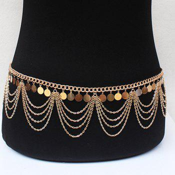 Graceful Multilayered Alloy Sequins Belly Chain For Women - GOLDEN GOLDEN