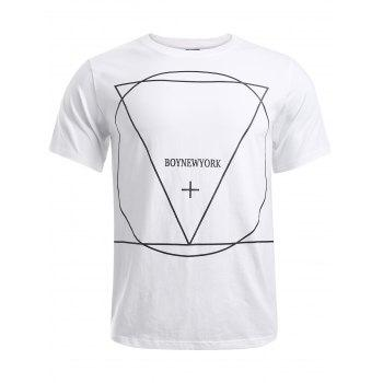 Geometric Pattern Solid Color T Shirt