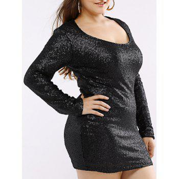 Low Cut Club Sequin T Shirt Dress