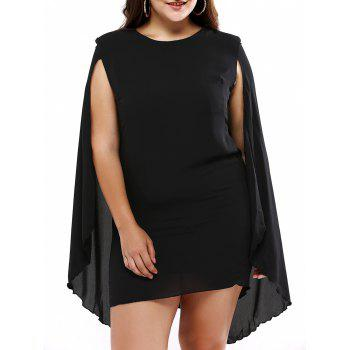 Plus Size Novelty Cape Sleeve Black Dress