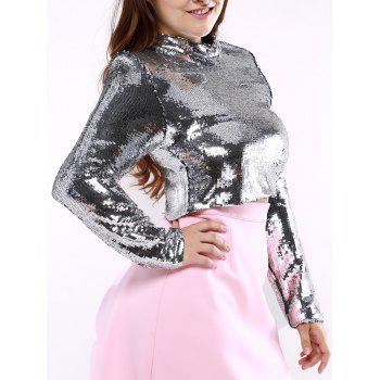 Plus Size Long Sleeve Sequined Crop Top - SILVER SILVER