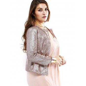 Plus Size Trendy Round Neck Sequined Short Blazer - SILVER 3XL