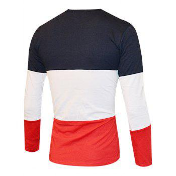 Color Splicing Round Neck Long Sleeve Men's T-Shirt - BLACK/WHITE/RED 2XL