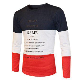 Color Splicing Round Neck Long Sleeve Men's T-Shirt