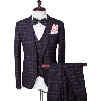 Buy Plaid Pattern Single Breasted Lapel Long Sleeve Men's Three-Piece Suit ( Blazer + Waistcoat Pants ) CADETBLUE