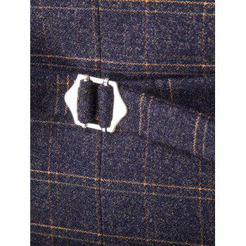 Plaid Pattern Single Breasted Lapel Long Sleeve Men's Three-Piece Suit ( Blazer + Waistcoat + Pants ) - CADETBLUE L