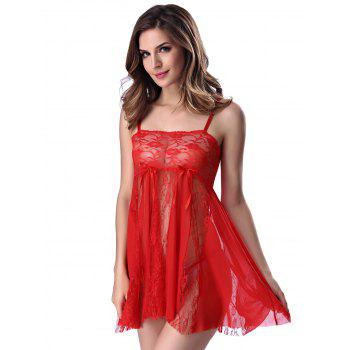 Stylish Women's Strappy See-through Lace Splicing Babydoll - RED RED