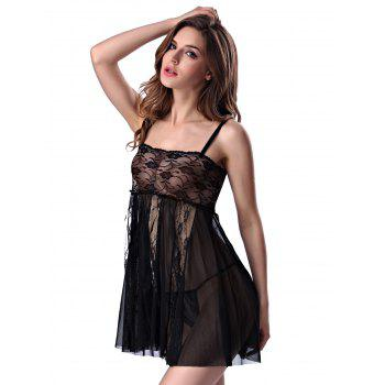 Stylish Women's Strappy See-through Lace Splicing Babydoll - 2XL 2XL