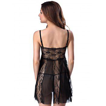 Stylish Women's Strappy See-through Lace Splicing Babydoll - BLACK L