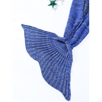 Chic Quality Warmth Crochet Knitted Mermaid Tail Design Blanket - DEEP BLUE