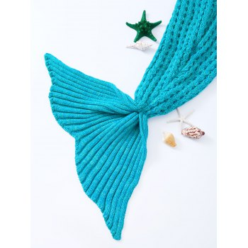 Fashionable Blue Crochet Knitted Mermaid Tail Design Blanket For Kids - BLUE