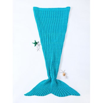 Fashionable Blue Crochet Knitted Mermaid Tail Design Blanket For Kids
