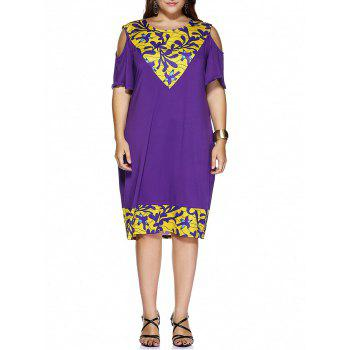 Buy Plus Size Cold Shoulder Paisley Print Dress DEEP PURPLE