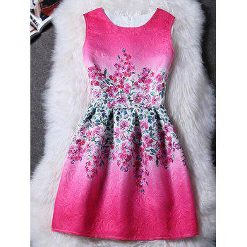 Charming Round Collar Sleeveless Floral Print Women's Dress