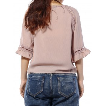 Cuff Ruffled Hollow Out Blouse - XL XL