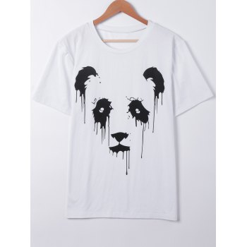 Casual Panda Print Hit Color T-Shirt - WHITE S