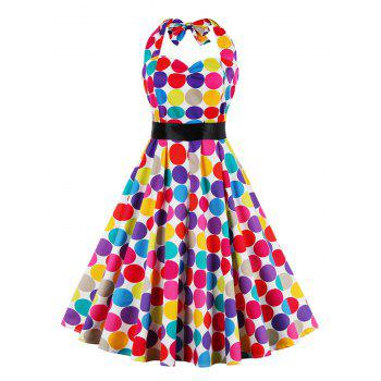 Retro Halter Sweetheart Neck Colorful Polk Dot Dress