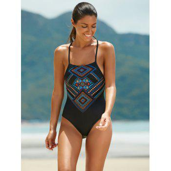 Chic Print Backless Cut Out One Piece Swimwear