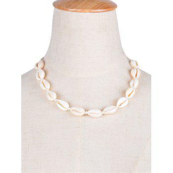 Adjustable Shell Choker Necklace - WHITE