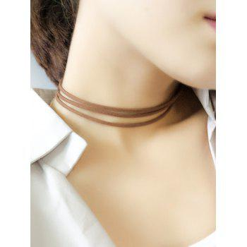 Layered Strand Velvet Choker Necklace