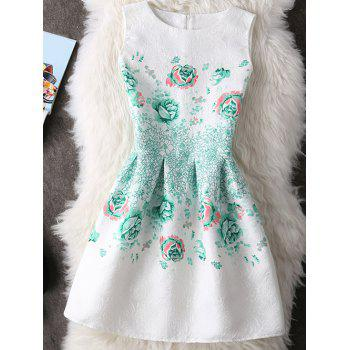 Sweet Round Neck Floral Print Slimming Women's Dress