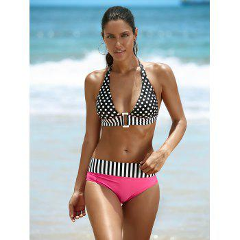 Halter Spliced Polka Dot Women's Bikini Set