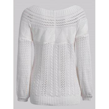 Chic Long Sleeve Boat Neck Pure Color Women's Sweater - WHITE L
