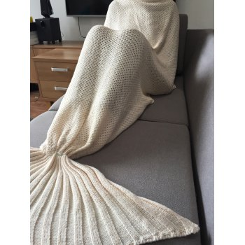Stylish White Handmade Wool Knitted Mermaid Design Blanket - WHITE