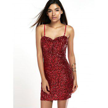 Shiny Party Queen Sequins Embellished Mini Dress - RED ONE SIZE
