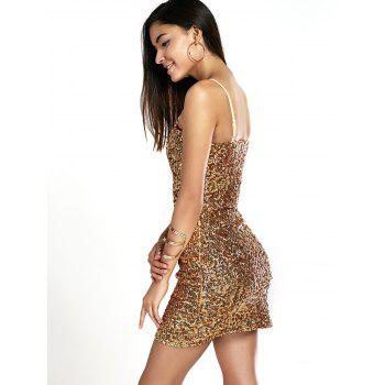 Shiny Party Queen Sequins Embellished Mini Dress - GOLDEN ONE SIZE