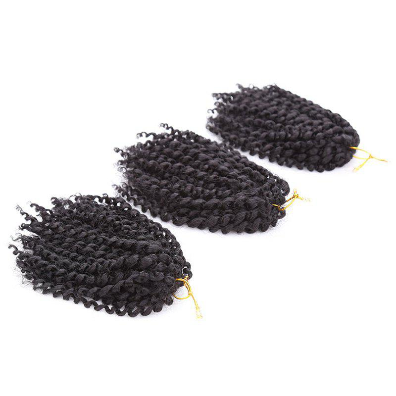 Exotic 3Pcs Synthetic Women's Black Short Curly Braid Hair Extension -  BLACK