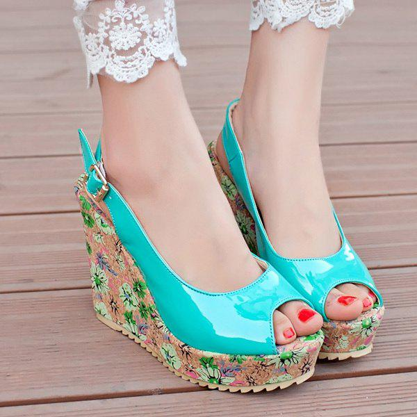 Trendy Patent Leather and Floral Print Design Women's Peep Toe Shoes - LAKE GREEN 43
