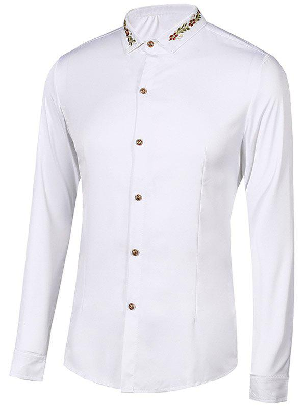 Turn-Down Collar Floral Embroidery Long Sleeve Men's Shirt - WHITE M
