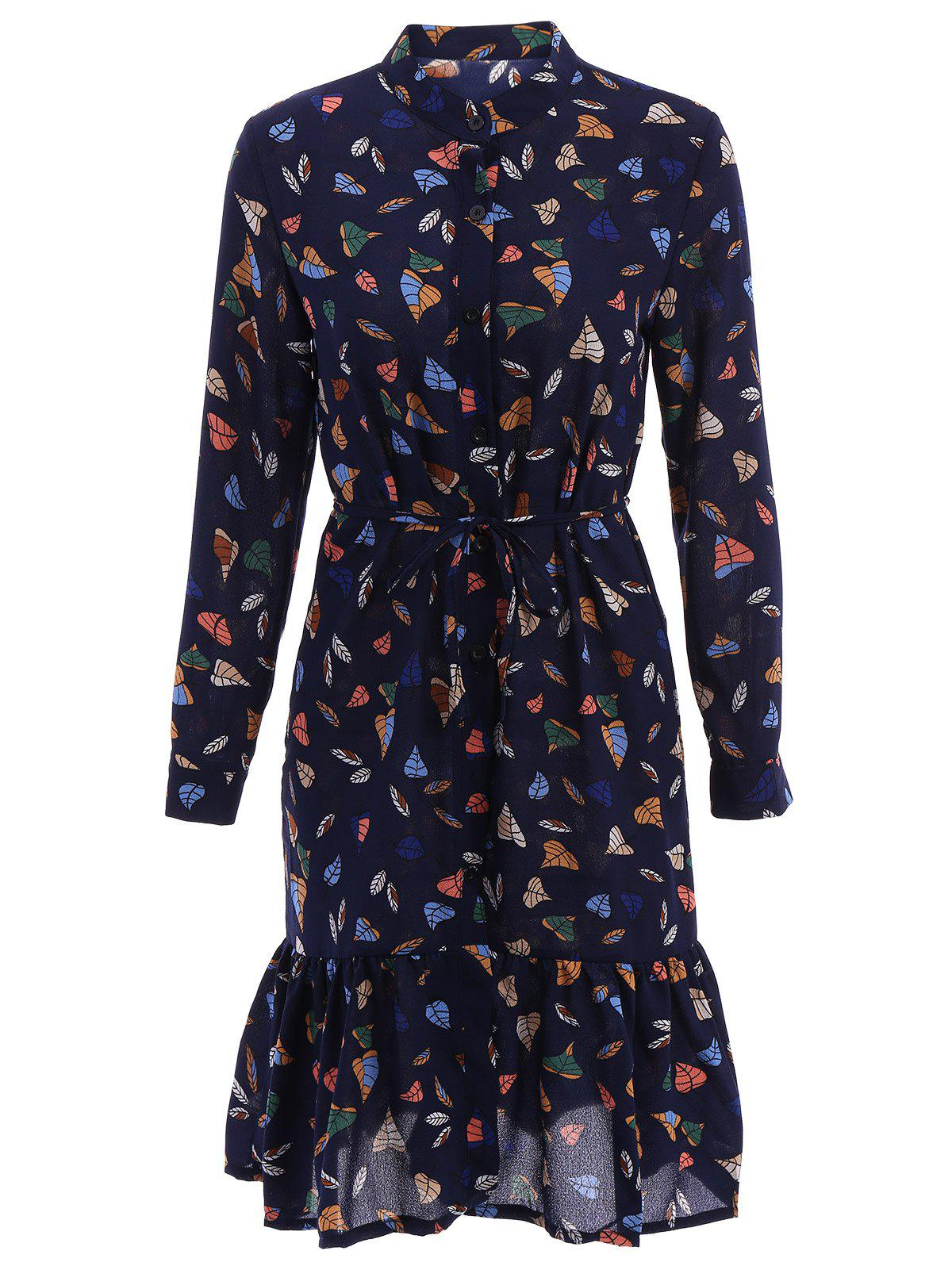 Stylish Women's Stand Collar Long Sleeve Print Midi Dress
