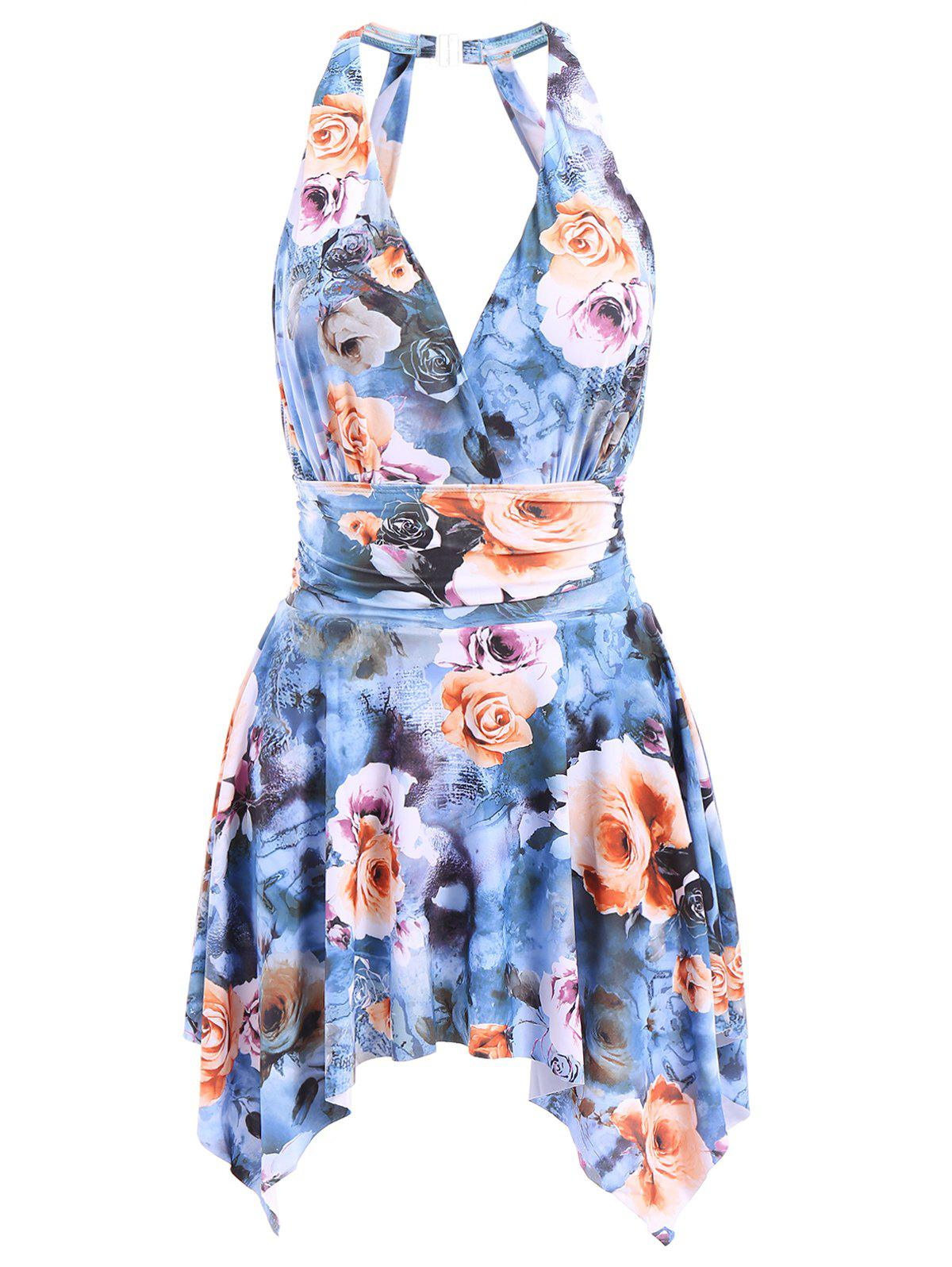Attractive Backless Floral Printed Handkerchief One-Piece Swimwear For Women - BLUE XL