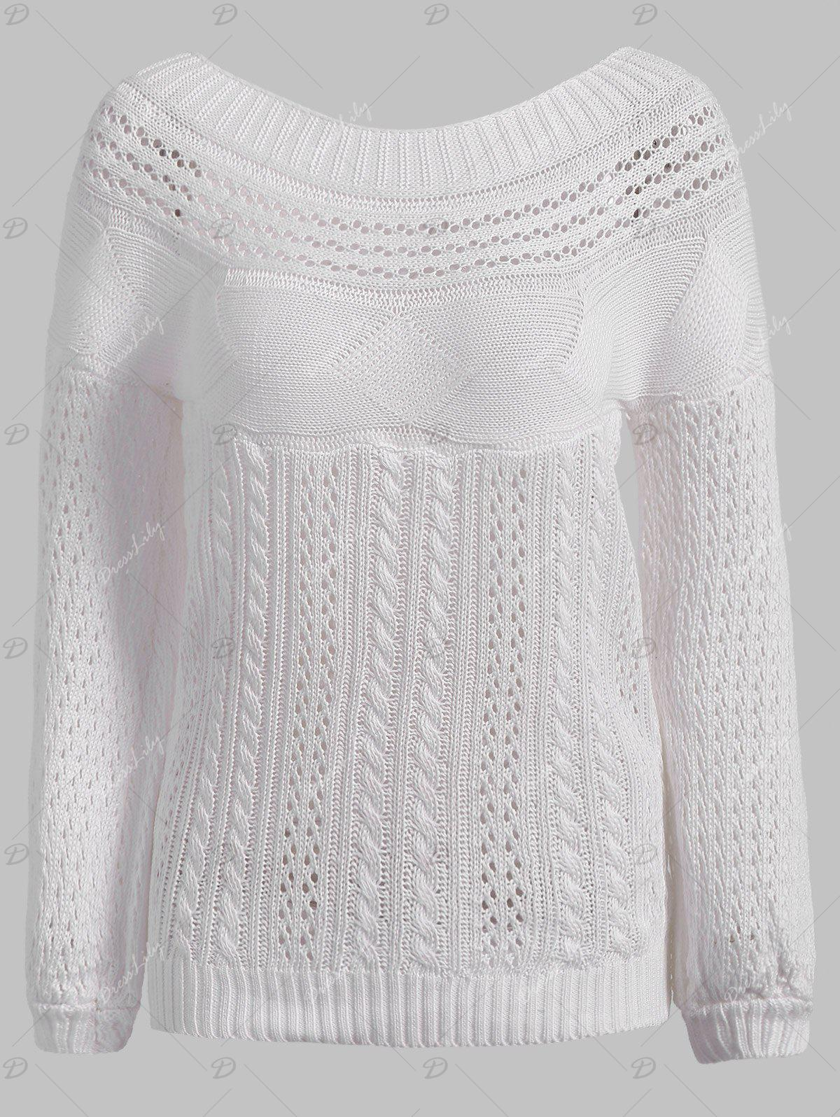 Chic Long Sleeve Boat Neck Pure Color Women's Sweater - WHITE M